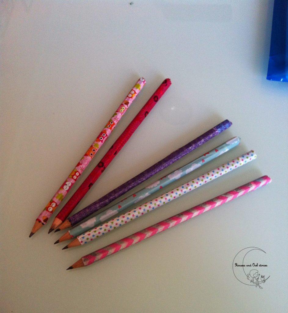 lápices decorados con washitape